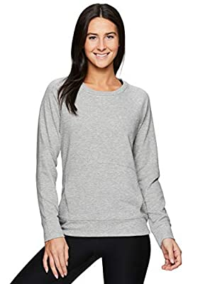 RBX Active Women's Fashion Long Sleeve Crewneck Sweater Lightweight Pullover Sweatshirt with Pocket Grey L