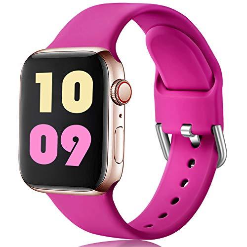 Ouwegaga Compatible con Apple Watch Correa 38mm 42mm 40mm 44mm, Correa de Reemplazo Deportiva de Silicona Suave Compatible con Apple Watch SE/iWatch Series 6/5/4/3/2/1, 38mm/40mm S/M Rosa