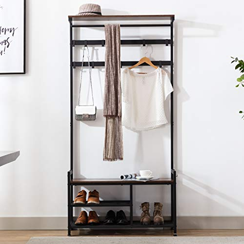 Coat Rack Shoe Bench, Hall Tree Entryway Storage Shelf, Industrial Wood Look Accent Furniture with Metal Hooks and Frame