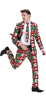 Men s Christmas Party Suit Bachelor Funny Costume Novelty Xmas Regular Fit Suits with Trousers and Tie -Large
