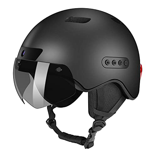 KRACESS Adult Bike Helmet Bluetooth Smart Helmet with Driving Recorder and LED Taillight Function for Urban Commuter Detachable Visor Mens/Womens Bike Helmet(Black)