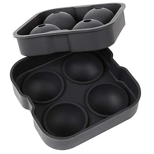 Silicone Sphere Ice Ball Maker mit Deckel und kühlen schwarzen runden Eisformen für Getränke, Saft, Whisky, Wodka, Cocktails EIS am Stiel Formen Set