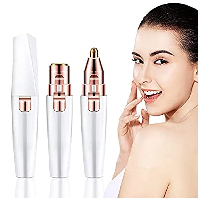 Facial Hair Remover Women, Gianic 2-1 Face Nose Eyebrow Trimmer Electric Lady Shaver Painless Hair Remover for Face Eyebrows Ear Nose Lips Chin Female Hair Removal (2-1 Battery Powered)