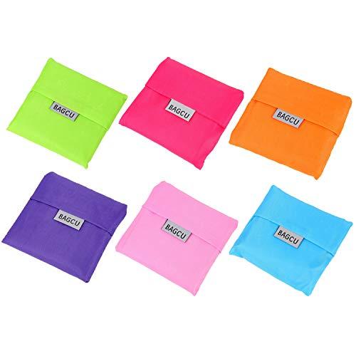 6pcs Portable Réutilisable Pliable épicerie en Nylon Cabas Sac de Rangement Sacs à Main pour l'achat D'organiser des Couleurs aléAtoires