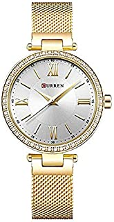 Curren 9011 Quartz Movement Round Dial Stainless Steel Strap Waterproof Watch for Women - Gold, White