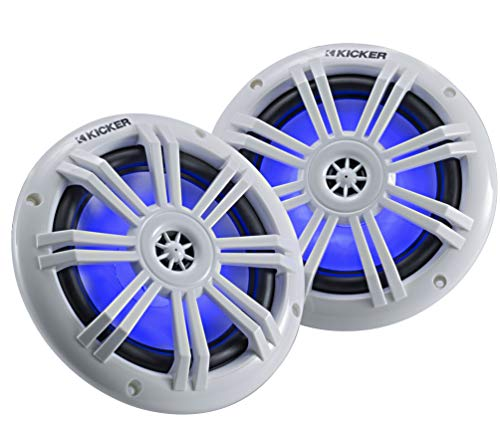 Kicker 45KM604WL 6.5 Inch 2 Way Coaxial Marine Light Up LED Boat Speakers, Pair, 4 Ohm, 150 Max...