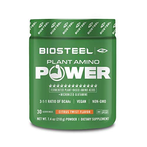 BioSteel Plant-Amino Power BCAA Powder, Fermented Plant-Based Amino Acids, Non-GMO Formula, Citrus Twist Flavor, 30 Servings