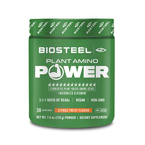 BioSteel Plant Amino Power BCAA+ - Sugar Free Branched Chain Amino Acid Powder, Preservative Free, Supports Muscle Repair, Citrus Twist 30 Servings