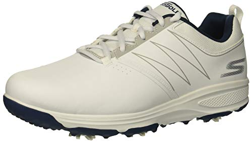 Skechers Men's Torque Waterproof Golf Shoe, White/Navy, 11 W US