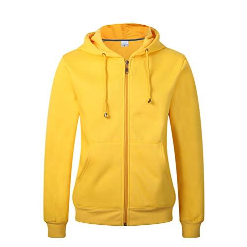 Kuncg Unisex Sweatshirtjacke Einfarbig Kapuzenjacke Sweatjacke Fleece Hoodie Sweatshirt Reißverschluss Mantel Langarm Sportjacke Pulli Outwear (Gelb,CN M)
