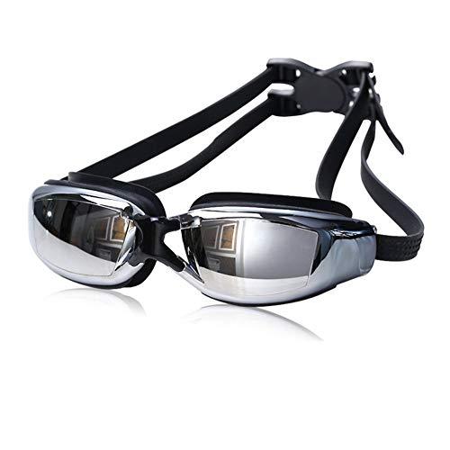 Keepmoving Anti-Beschlag Wasserdicht Anti-Fog-Beschichtung Sport Optische Schwimmbrillen Kurzsichtig mit Sehstärke -1,5 bis -8,0 dpt UV-Schutz Damen Herren Kinder (Schwarz, -2,5)