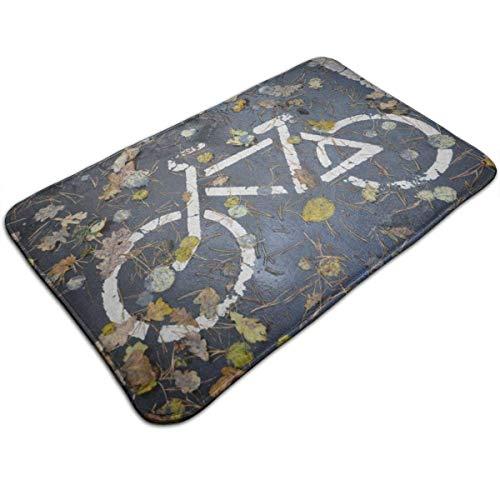 NA Road Maple Leaf Felpudo de Bicicleta Decoración del hogar Felpudos Antideslizantes Interior/Exterior/Puerta Delantera/Baño Alfombrillas de Entrada Alfombra Personalizada Alfombra de Piso Alfombr