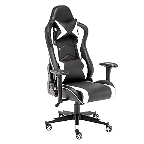STmeng Comfort X2 Racing Gaming Chair, Ergonomic Computer Chair, PC Gamer Office Chairs with Back Support, Heavy Duty Headrest Flip-up Armrest Leather for Adults, Capacity 300Kg, White