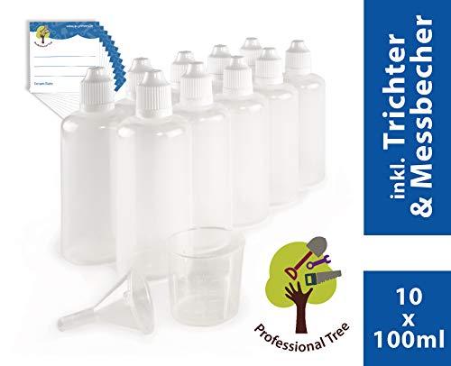 ProfessionalTree 10 x 100 ml Tropfflaschen mit Trichter, Messbecher und 10 Etiketten - Leere Quetschflasche zur Dosierung und Aufbewahrung von E-Liquid - Tropfflasche zum Mischen von Nikotin Shot