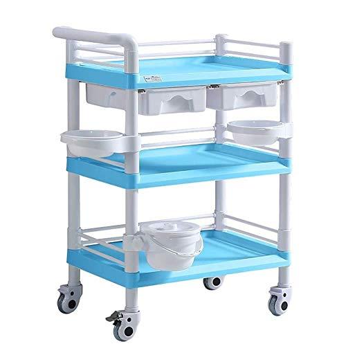 Jiamuxiangsi cosmeticawagentje blauw beauty trolley, 3-Shelf Medical trolley voor de behandeling van laboratorium, zware medische kaart, 330 lbs belasting medische wagen