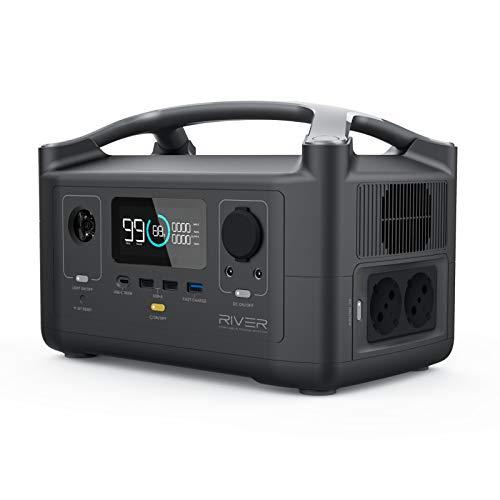 ECOFLOW tragbarer Akku-Generator River 600,288 Wh Backup-Lithiumakku-USV mit 2x 600 W (Spitze 1800 W) mit LED-Taschenlampe,Solargenerator für den Außeneinsatz,Camping, Wohnmobil oder Notfälle zuhause