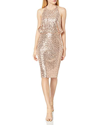 Badgley Mischka Women's Sequin Drape Back Cocktail Dress, Blush, 6