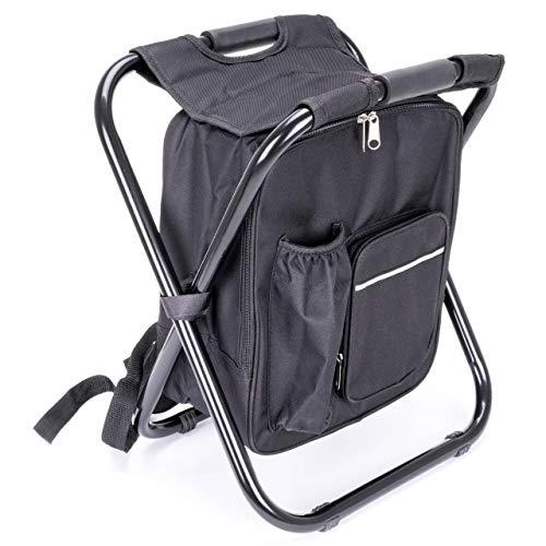 Nexos Multifunktionsrucksack 1,8l Kühltasche Angelhocker Hocker Sitzrucksack Campingstuhl faltbar Camouflage schwarz (Farbe wählbar) (Schwarz)