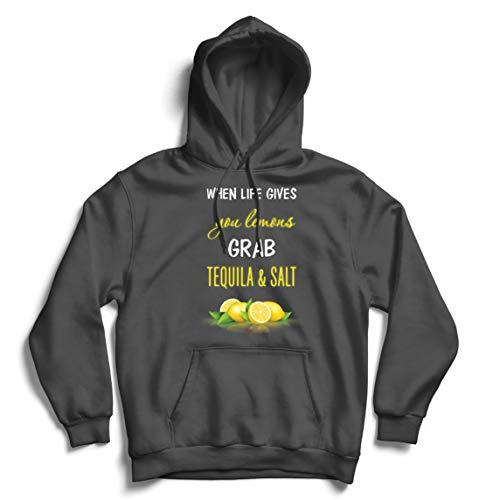 lepni.me Kapuzenpullover Wenn das Leben Ihnen Zitronen gibt, greifen Sie zu Tequila und Salz-Zitat (XL Graphit Mehrfarben)