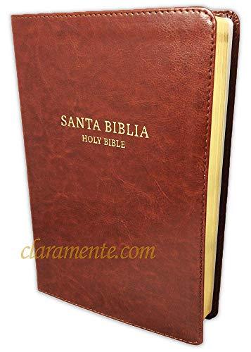Biblia Bilingüe, Reina-Valera 1960 RVR60 con King James Version KJV, imitación piel, chocolate