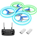 Drone for Kids, EACHINE E65H Mini Drone for Kids and Beginners RC Drone for Kids 8-12 and No Phone Blue&Green LED Light Firefly Drone Propeller Full Protect Gifts for Kids 8-12 (Blue)