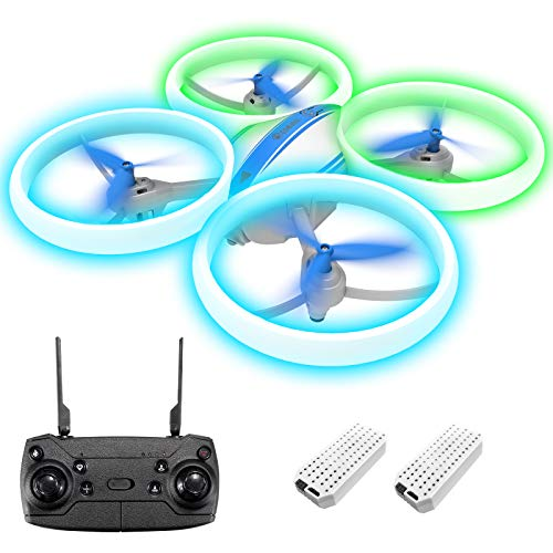 Drone for Kids, EACHINE E65H Mini Drone for Kids and Beginners RC Drone Quadcopter for Kids and No Phone Blue&Green LED Light Firefly Drone Propeller Full Protect Gifts for Kids 8-12 (Blue)