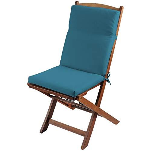Cojín de silla de exterior desenfundable, color azul pato, 40 x 90 cm, 100% poliéster, impermeable, fijación con clips (silla no incluida).