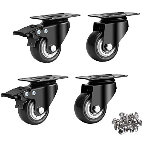 4 Pack 2' Swivel Caster Wheels with Safety Dual Locking & Heavy Duty Polyurethane PU No Noise Wheels, with 360 Degree Top Plate & Bearing Heavy Duty (2 with Brakes & 2 Without) Black w/ 16 Screws