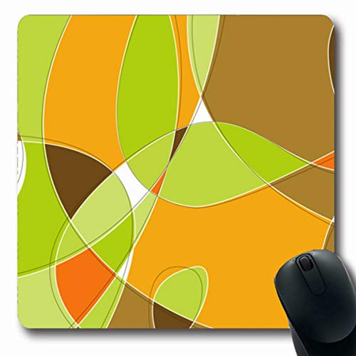 Jamron Mousepad Oblong 7.9x9.8 Inches Kitsch Retro No Pop Lime Revival Pattern Vintage Swirl Loopy Strokes Concept Stylish Orange Design Non-Slip Rubber Mouse Pad Office Computer Laptop Games Mat