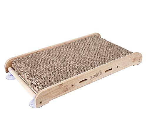 Pecute Rascador para Gatos de Cartón con Hierba gatera Alfombras Rscadoras Soporte de Bambú Natural con 4 Fuertes Ventosas Reemplazable (Rascador para Gatos con Soporte)
