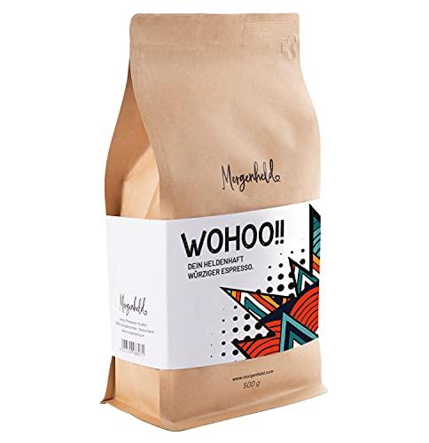 Morgenheld WOHOO Premium Kaffeebohnen würziger Arabica Espresso, säurefrei und kräftig, 500g ganze Bohnen für Vollautomaten