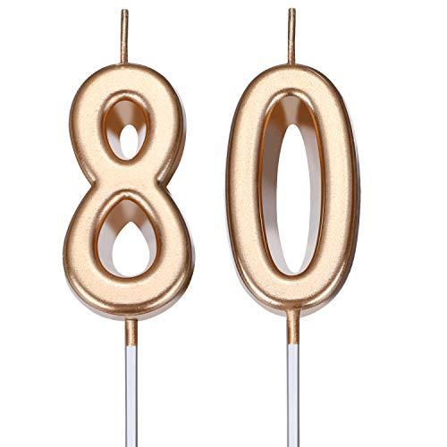 BBTO 80. Geburtstag Kerzen Kuchen Nummer Kerzen Alles Gute zum Geburtstag Kuchen Kerzen Topper Dekoration für Geburtstag Hochzeit Jahrestag Feier Gunst (Champagner Gold)
