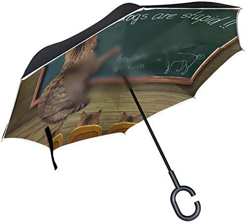 Paraguas invertido de gatito gato Hipster en pizarra,mango en forma de C,a prueba de viento,a prueba de rayos UV,para viajes al aire libre,paraguas reversible para coche