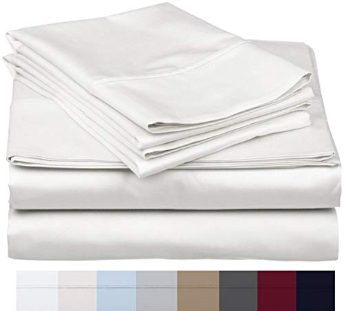 800 Thread Count 100% Long Staple Soft Egyptian Cotton SheetSet, 4 Piece Set, KING SHEETS,upto 17' Deep Pocket, Smooth & Soft Sateen Weave, Deep Pocket, Luxury Hotel Collection Bedding, WHITE