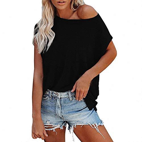 YANFANG Blusa de Manga Corta con Bolsillo en el Pecho de Color sólido Suelto Informal para Mujer,Tops de Túnica de Mujer Camiseta,, Black,2XL