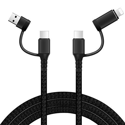Lively Life Cable de carga 4 en 1, USB A y USB C a USB C y cable de carga rápido aligeramiento [1 m/3,3 pies] cable universal con puerto de iluminación tipo C para phone 12 11 Pro, Samsung, Google