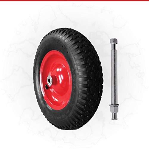albe Schubkarrenrad mit Achse Stahlfelge Kugellager Ersatzrad Luftrad 4.80/4.00-8 4PR Ø 390mm 200 Kg Achse: 137 mm Ø 15,6 mm