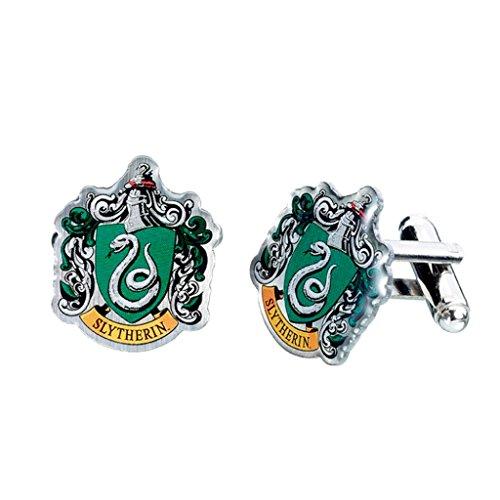 Gemelos oficiales de Harry Potter con diseño de los escudos de las casas de Hogwarts, Slytherin, talla única