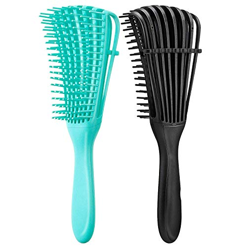 2 pcs Brosse Démêlante, Cheveux Bouclés Démêlant Peigne, Brosse Démêlante pour Cheveux Naturels, Huit Peigne de Griffe, Démêlant Cheveux pour Cheveux Humides/Secs/Longs Epais Bouclés