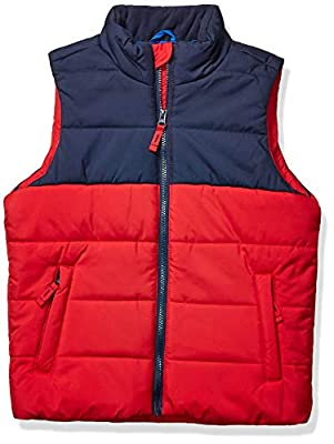 Amazon Essentials Kids Boys Heavy-Weight Puffer Vests, Red Colorblock, Medium