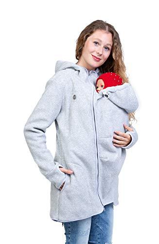 Viva la Mama - Jacke für Babytragen vorn und hinten, Umstandsjacke, Jacke mit Trageeinsatz Fleece warm Winter - Janko helllgrau - M