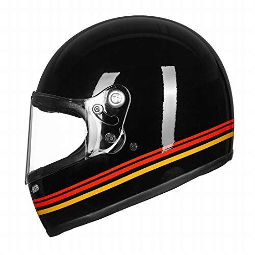 VCOROS Unisex-Adult Full Face Retro Motorcycle Helmet with Graphic Fiberglass Shell DOT Touring Bobber (Red/Yellow, M)