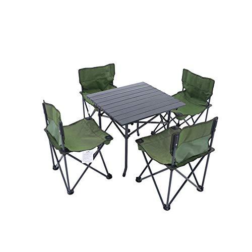 LJJOO Al aire libre mesa plegable portátil de 5 SetsCamping aleación de aluminio de la tabla de picnic impermeable Oxford tela plegable durable del escritorio de la tabla (Color: Verde) Mesas de picni