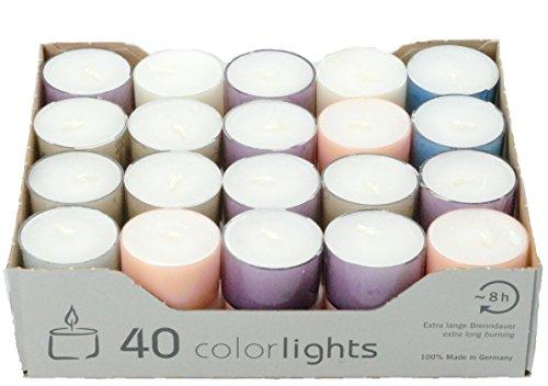 Wenzel-Kerzen Colorlights Pastell 8h Teelichte, Paraffin, 3,8 x 3,8 x 2,4 cm, 40-Einheiten