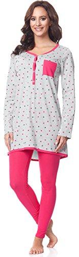 Be Mammy Damen Langarm Pyjama mit Stillfunktion BE20-178, Grau-Punkten-Rosa, XL(Grau-Punkten-Rosa, XL)