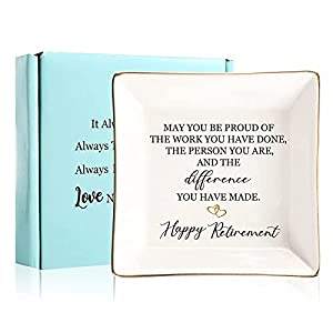 """Quote:May You be Proud of the work You Do, the person You are, and the difference,You have made,Happy Retirement Measures approximately 4.1""""square x 0.8""""H sweet places to keep jewelry,rings,necklace or bracelet mementoes. It's a simple yet meaningful..."""