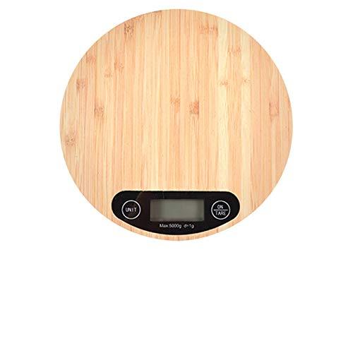 PPCERY Portátiles 5 kg / 1 g preciso báscula electrónica harina Hornear Herramienta de pesaje básculas de Cocina (Color : Bamboo Color)