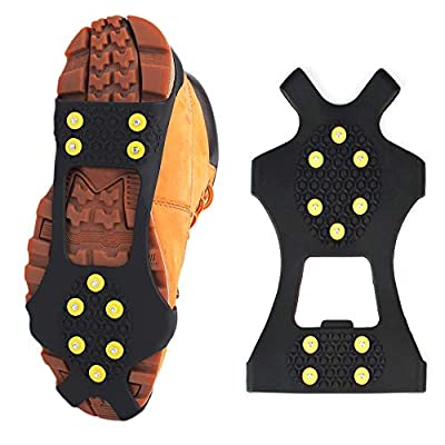 traderplus Ice Snow Shoes Grips Traction Cleats Over Boots with 10 Steel Studs Crampons for Walking, Jogging, Climbing and Hiking (M (Women: 7-10 / Men: 5-8))