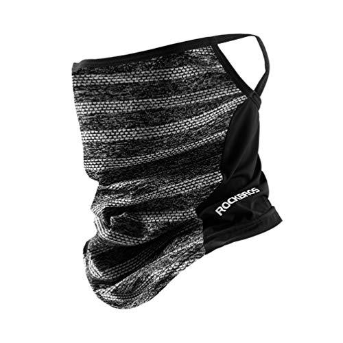 ROCKBROS(ロックブロス)ネックカバー UVカット フェイスカバー 耳かけヒモ付き 冷感 夏用 息苦しくない メンズ(ブラック)