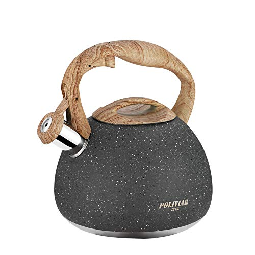 Poliviar Tea Kettle, 2.7 Quart Natural Stone Finish